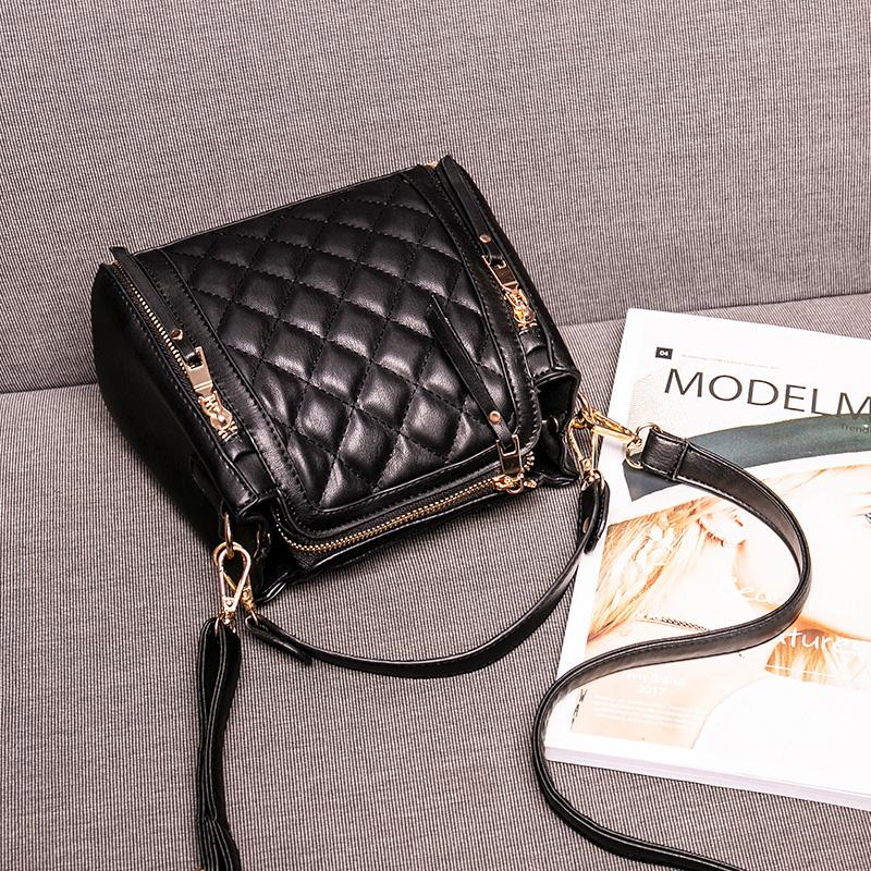 Rhombus Small Bag Female 2019 New Style Fashion Korean Style Versatile Shoulder Portable Bucket Womens Bag Girls Online Celebrity Black Package