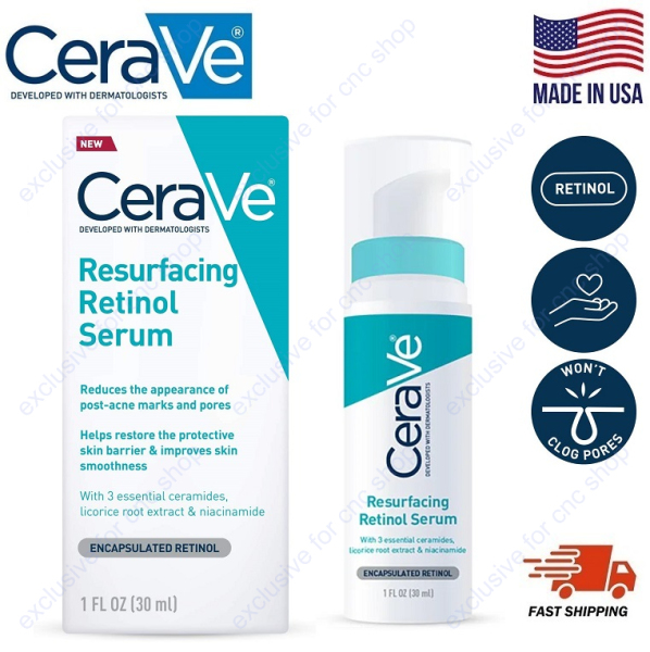Buy CeraVe Resurfacing Retinol Serum 30ml for Post-Acne Marks and Skin Texture With 3 Essential Ceramides, Licorice Root Extract and Niacinamide Singapore