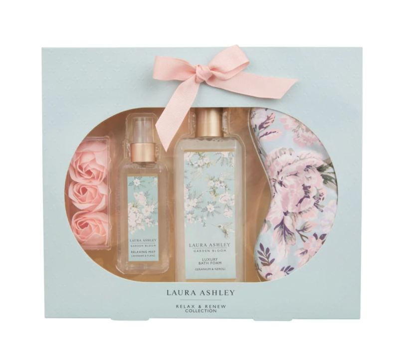 Buy LAURA ASHLEY Garden Bloom Relax And Renew Collection Gift Set Bath Foam Relaxing Mist Eye Mask Soap Flowers Christmas Present Housewarming Gift Singapore