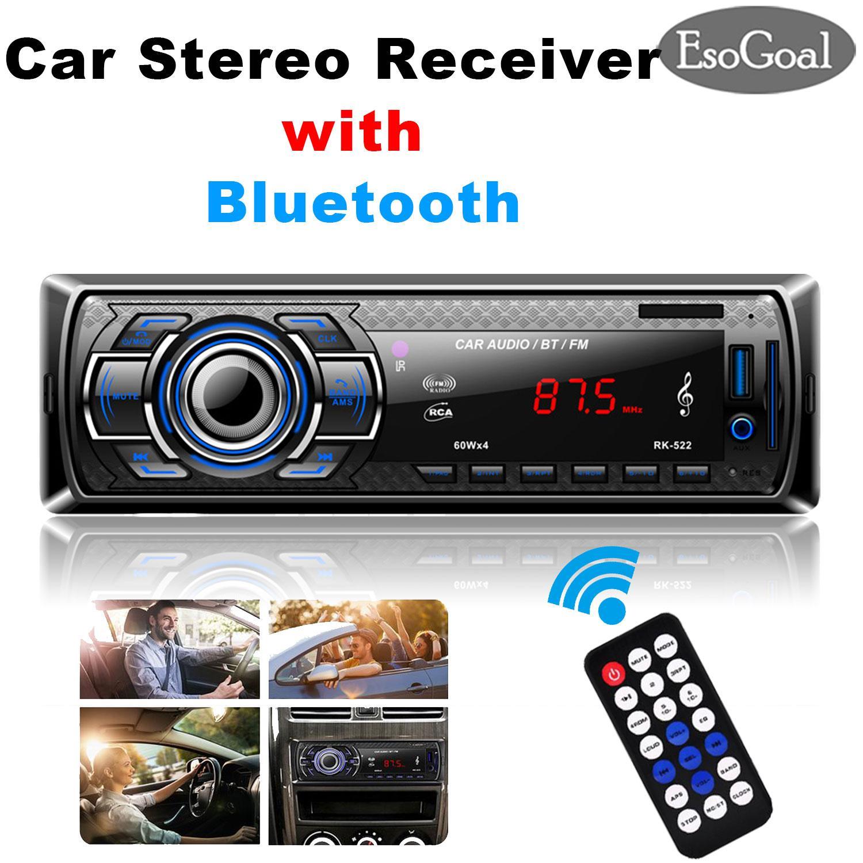 Esogoal Car Stereo Receivers, Car Audio Radio Player Bluetooth Stereo Car Mp3 Player Wireless Digital Media Single-Din In Dash Receivers With Sd/usb/aux-In/fm Radio Remote Control By Esogoal.