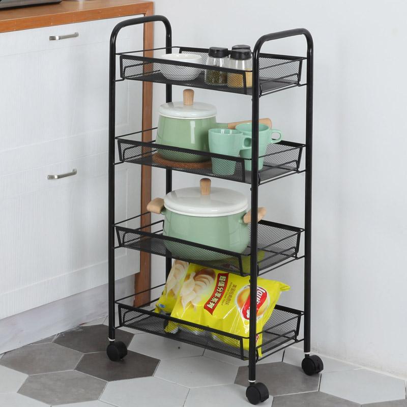 Kitchen Cart Storage Shelf Landing Bedroom Multilayer Removable Vegetable Wears Pulley Storage Rack Beauty Salon Trolley