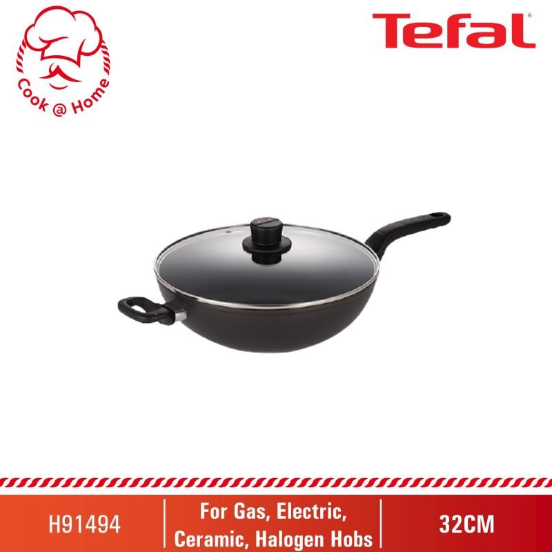 Tefal Intense Cook Hard Anodized Induction 32cm Wok Pan w/lid H91494 Singapore