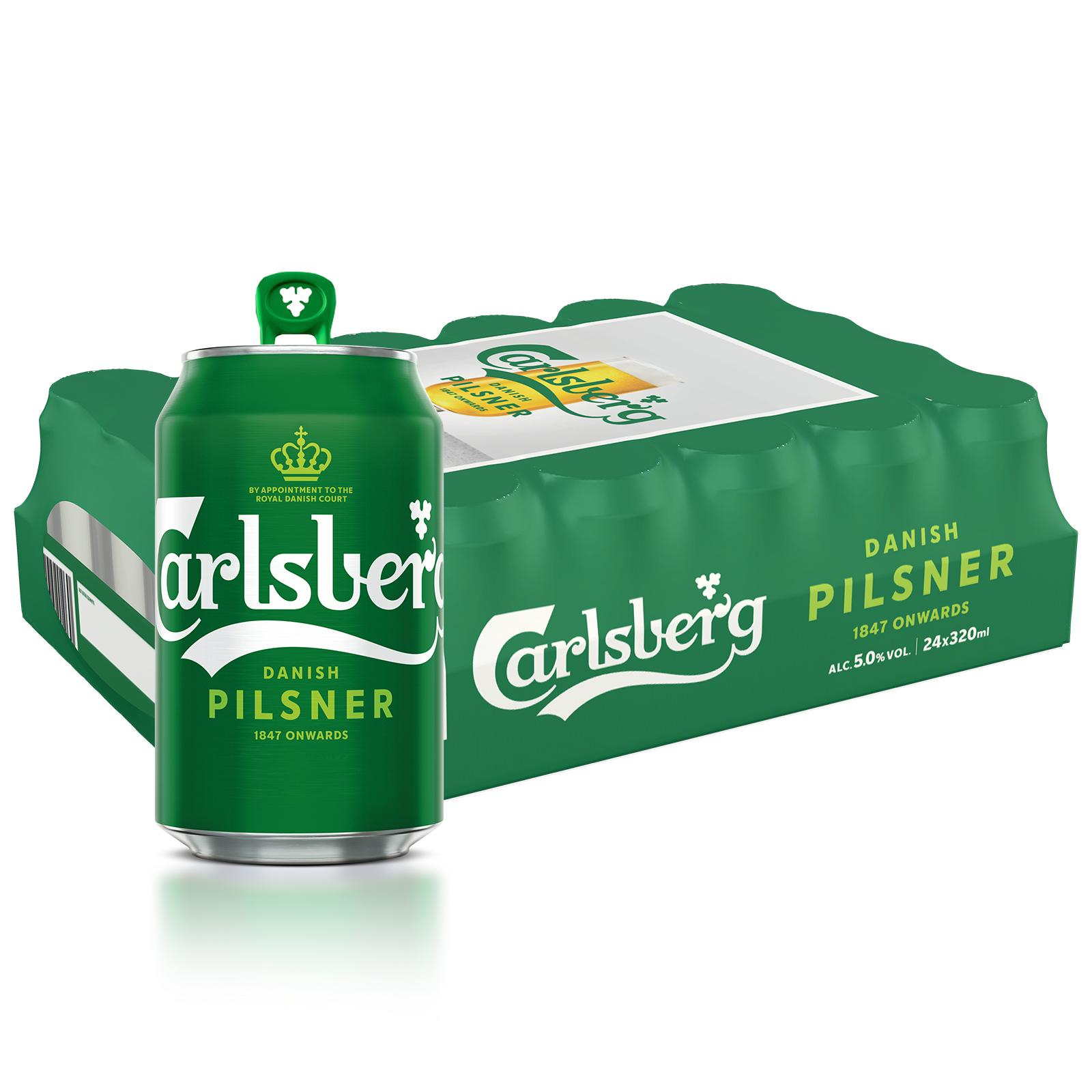 Carlsberg Danish Pilsner Beer Can 320ml(Pack of 24) Green Tab