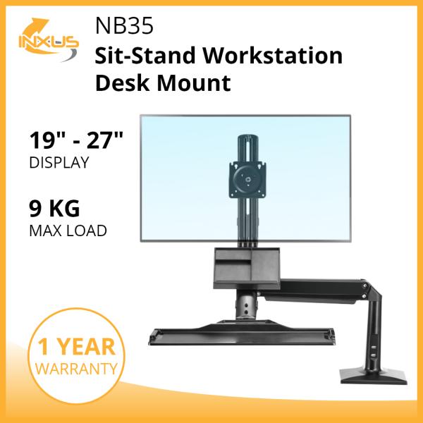 NB35 Sit Stand Workstation / Monitor Arm Bracket / Single Monitor Desk Mount / Keyboard Tray / International Vesa Compatible