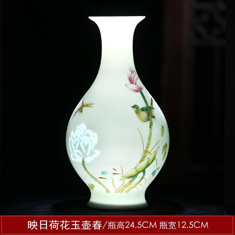 Jingdezhen Ceramic Works Thin Porcelain Vase Flower Arrangement Small Chinese Style Living Room Desktop Decorations Decoration Crafts