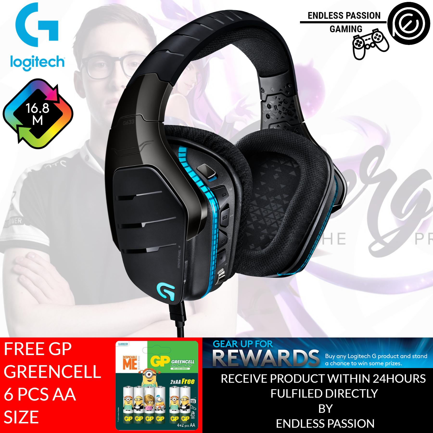 8bc33e2b208 Logitech G633 Artemis Spectrum – RGB 7.1 Dolby and DST Headphone Surround  Sound Gaming Headset –