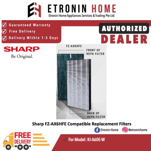 Sharp FZ-AX6HFE Compatible Replacement Filters  for KI-A60E-W Singapore