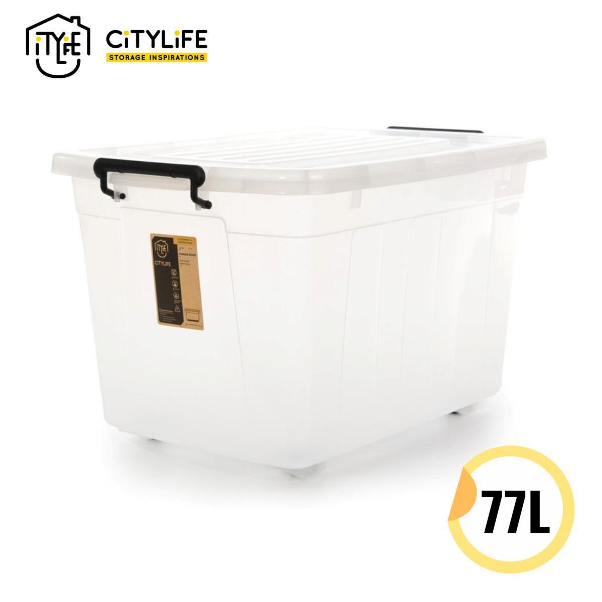 [BUNDLE OF 2] -  Citylife Large Capacity Storage Box with Wheels - 77L