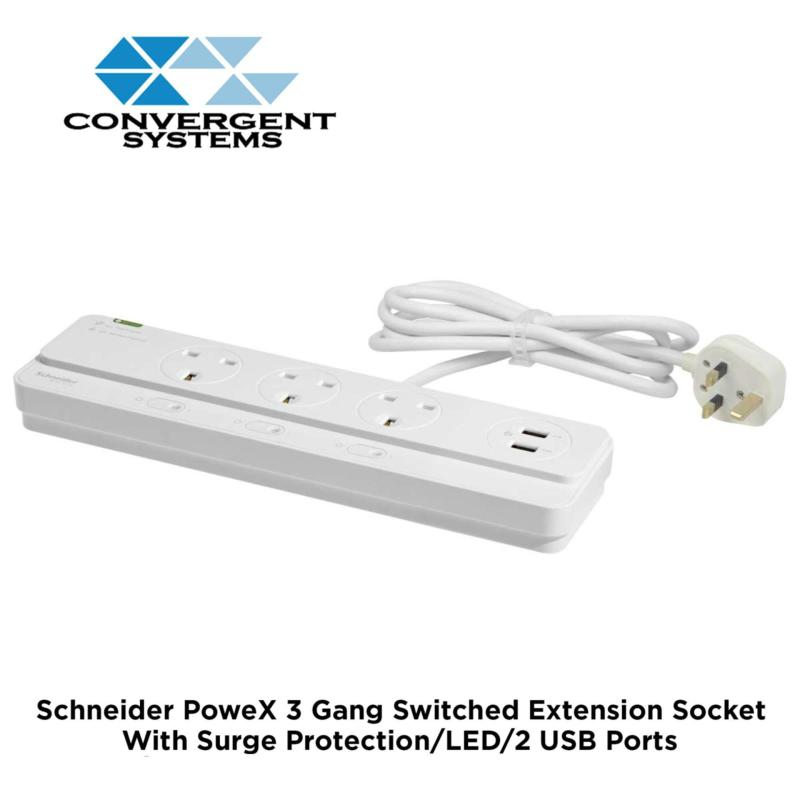 Schneider Electric PoweX 13A 3 Gang Switched Extension Socket with Surge Protection, LED & 2 USB Port EPB4BBSU