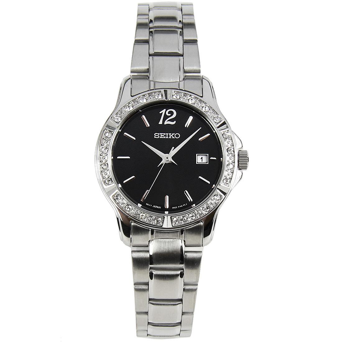 Seiko Quartz Diamond Accent Black Dial Womens Stainless Watch SUR719 SUR719P1