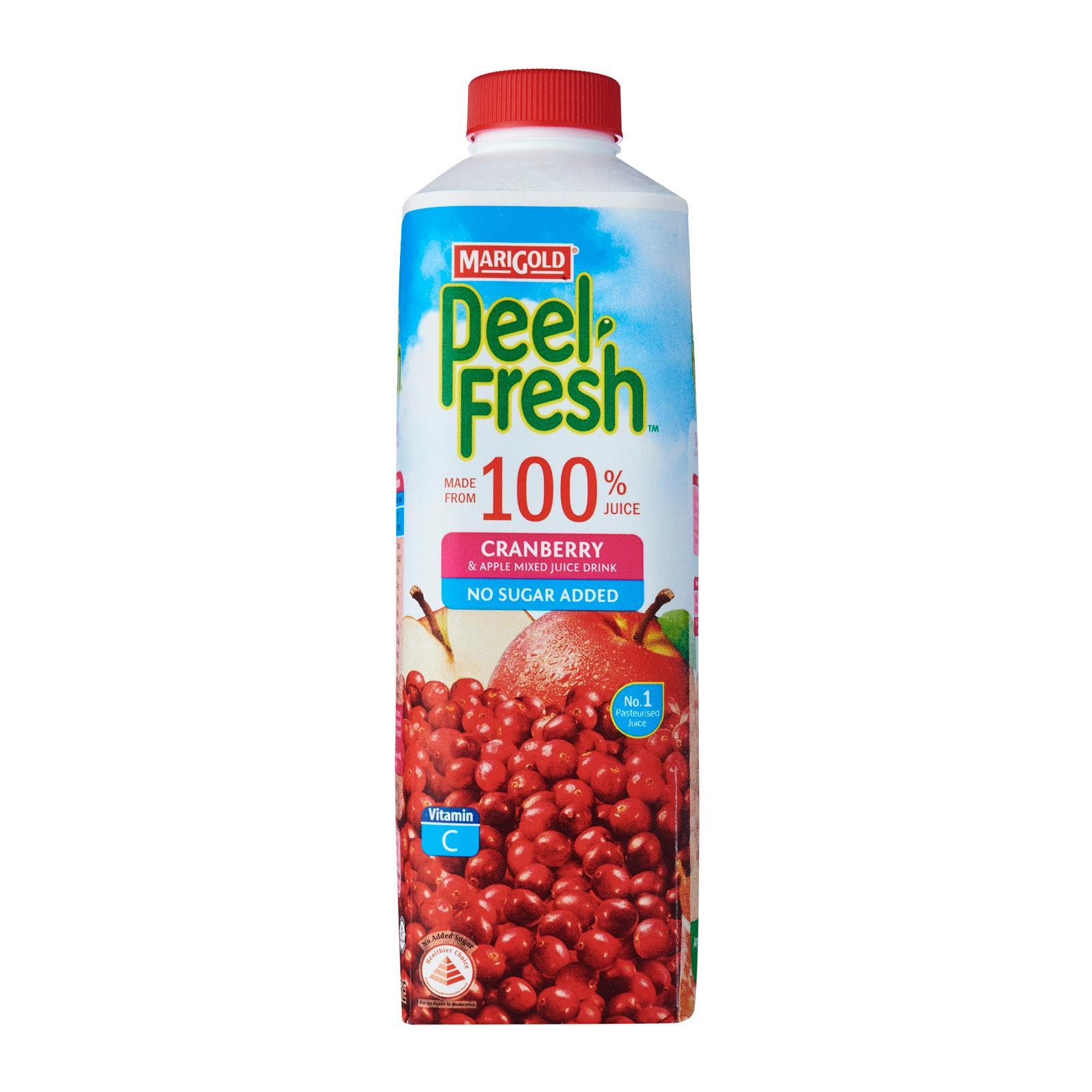 MARIGOLD PEEL FRESH Cranberry & Apple Juice Drink - No Sugar Added 1L