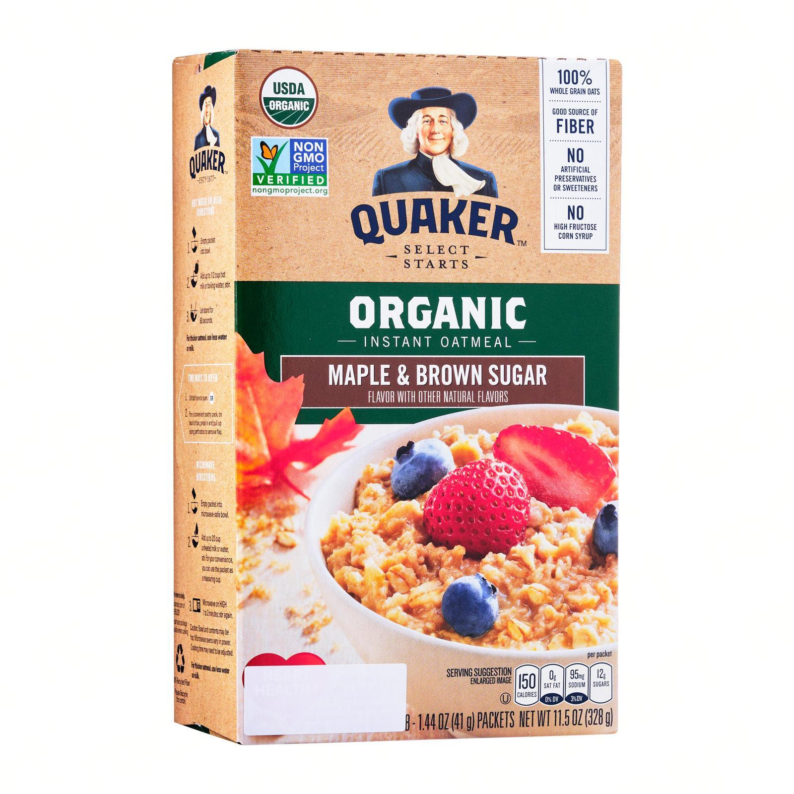 QUAKER Organic Instant Oatmeal (Maple and Brown Sugar)