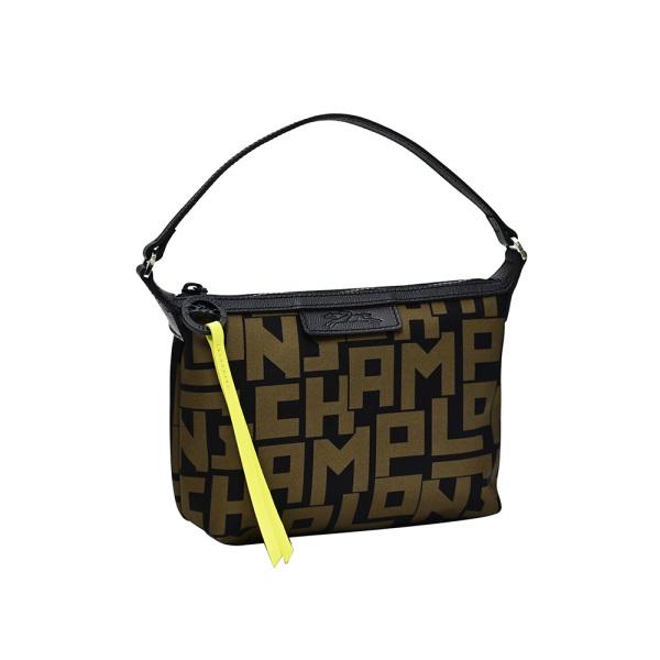 Longchamp Black Khaki Le Pliage LGP Mini Shoulder Bag