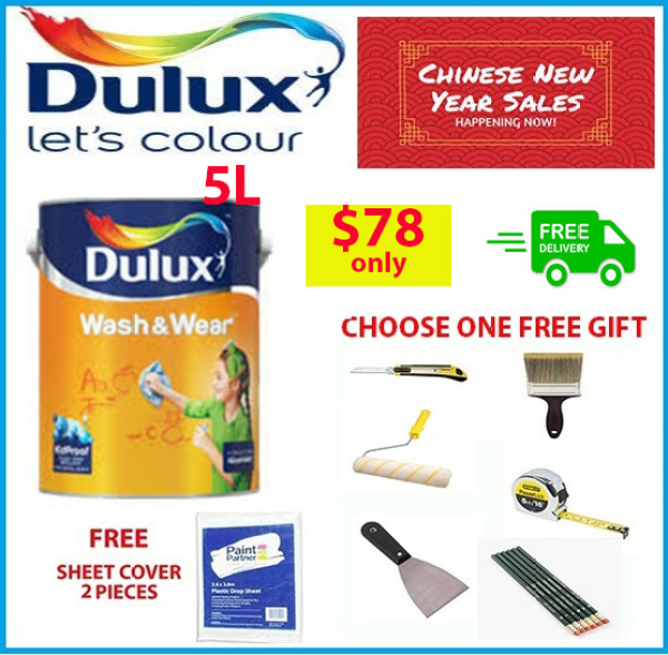 Dulux Wash and Wear Emulsion Interior Paint 5L | Free Gift