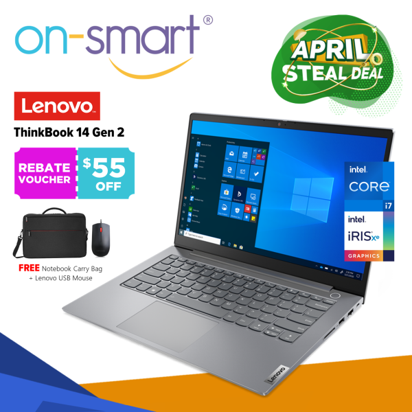 【Next Day Delivery】Lenovo ThinkBook 14 Gen 2 | Intel Core i7-1165G7 Processor | 8GB RAM | 512GB PCIe SSD | Intel Iris Xe Graphics | Windows 10 Pro | 3 Years On-Site Warranty | 20VD005HSB