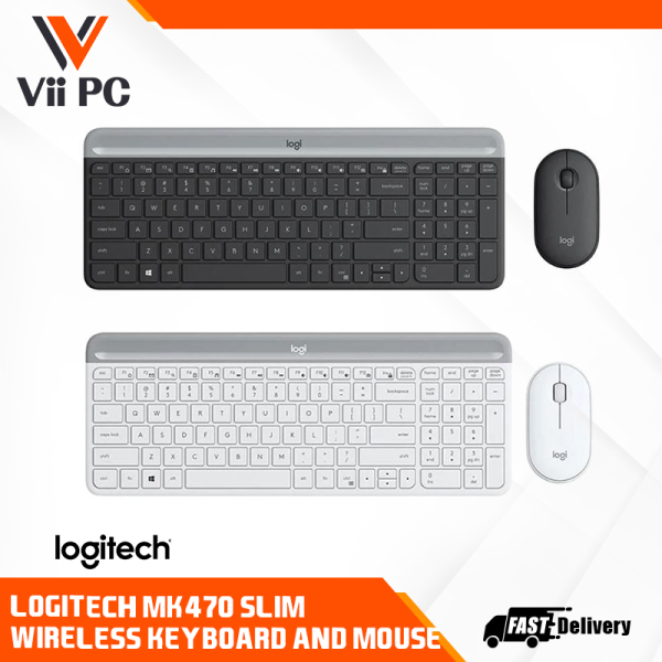 Logitech MK470 Combo Wireless Slim Keyboard Mouse Graphite Off White Singapore