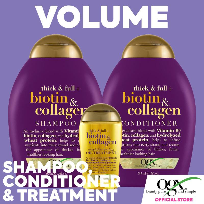 Buy What Hair Wants - Volume Bundle OGX Biotin and Collagen Shampoo + Conditioner + Oil Treatment Singapore