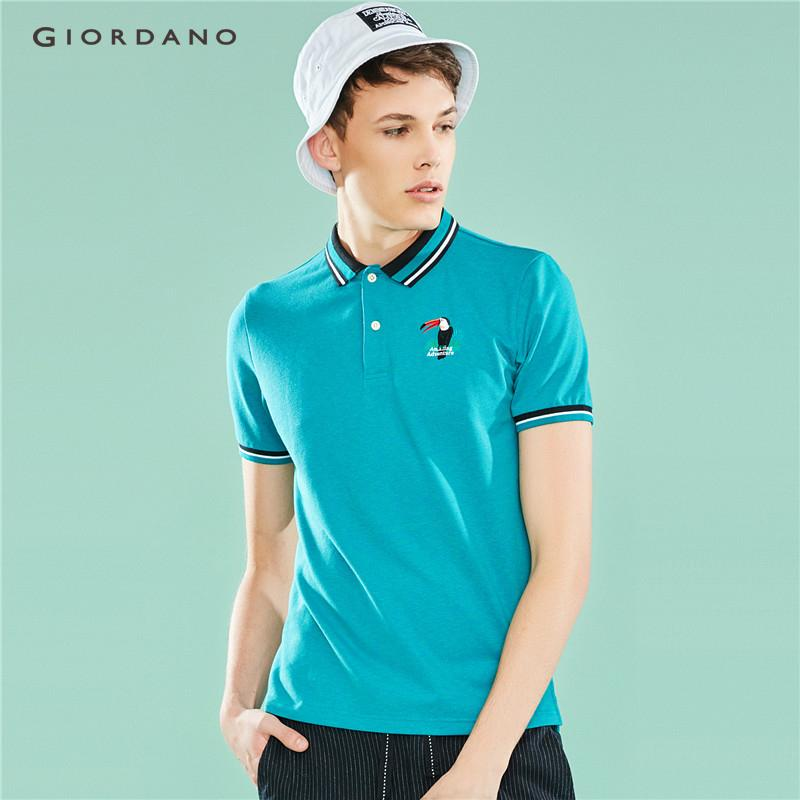 a07b19f45732a Giordano Men Polo Men's brand Polo Shirt Amazon Series Embroidery Turn-Down  Collar Short Sleeve Summer Free Shipping 01019205