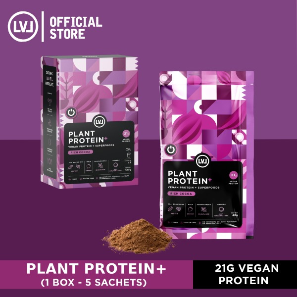 Buy LVL Plant Protein – Vegan Protein + Superfoods (5 sachets), Low Net Carbs, Non Dairy, Vegan, Gluten-Free, No Artificials Singapore