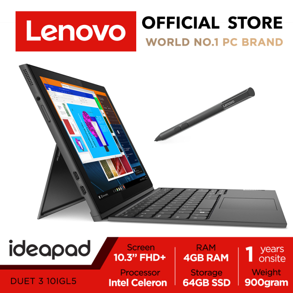 Lenovo ideapad Duet 3i | 10IGL5 | 82AT003JSB | 2-1 detachable | 10.3 WUXGA (1920x1200) IPS | 4GB RAM | Win10 Pro