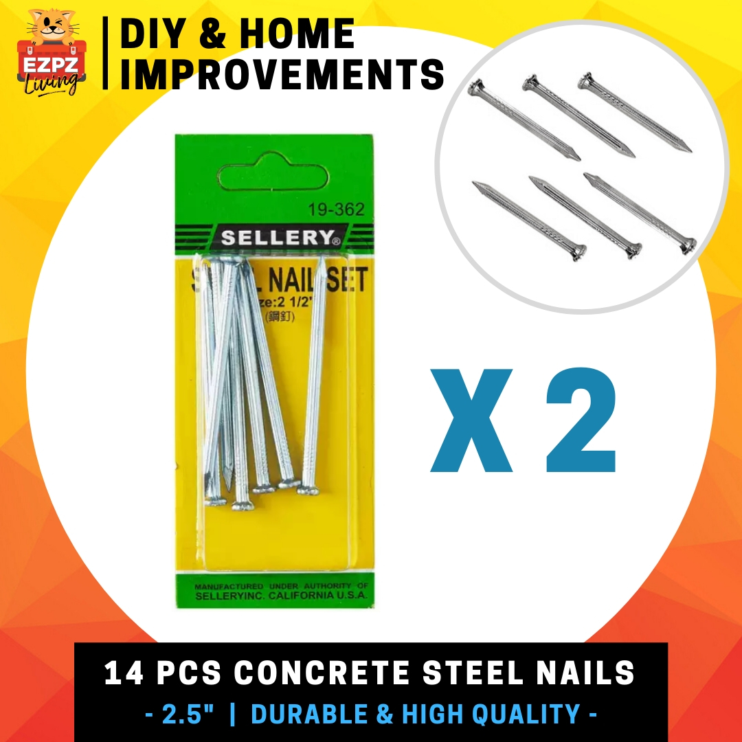 Sellery 14 PC Concrete Steel Nails - 2.5  / 63.5 mm