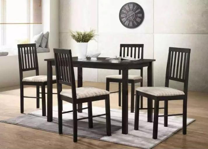 [Furniture Amart] 1+4 Solid wood Dining Table chair set with cushion (Free Install!)