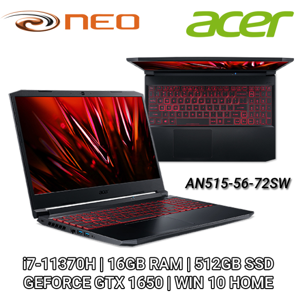 Acer Nitro 5 AN515-56-72SW FHD IPS 144Hz 15.6   NVIDIA GTX1650   i7-11370H   16GB RAM   512GB SSD   WIN 10 HOME   2 YEARS CARRY IN LOCAL SINGAPORE WARRANTY - NH.QBZSG.004