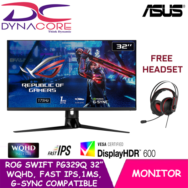 【DELIVERY IN 24 HOURS】 DYNACORE - ASUS ROG Swift PG329Q Gaming Monitor – 32 inch WQHD (2560 x 1440), Fast IPS, 175Hz*, 1ms (GTG), Extreme Low Motion Blur Sync, G-SYNC Compatible, DisplayHDR™ 600