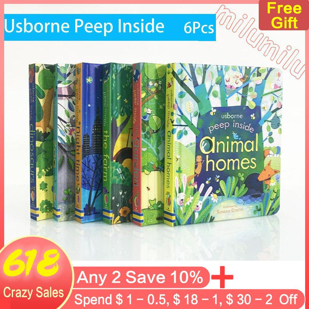 6pcs/set Peep Inside Look Inside Enlightenment English Picture Book Cognitive Stereo Machine Flipping Cardboard Cave Book Early Education For 2-6 Years Old