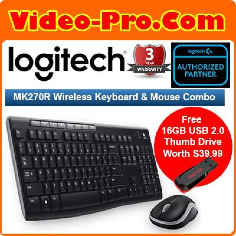 [Free 16GB Thumb Drive] Logitech MK270R 2.4Ghz Wireless Desktop Mouse and Keyboard Combo English Singapore