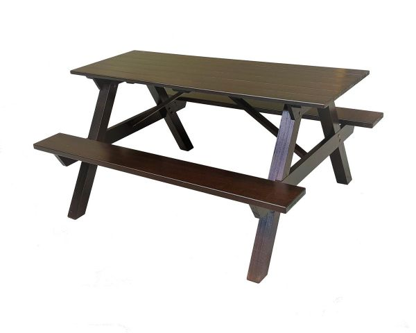 Chengal Wood BBQ / Picnic / Study / Outdoor Dining Table / Bench Set 1.5 (Mahogany)
