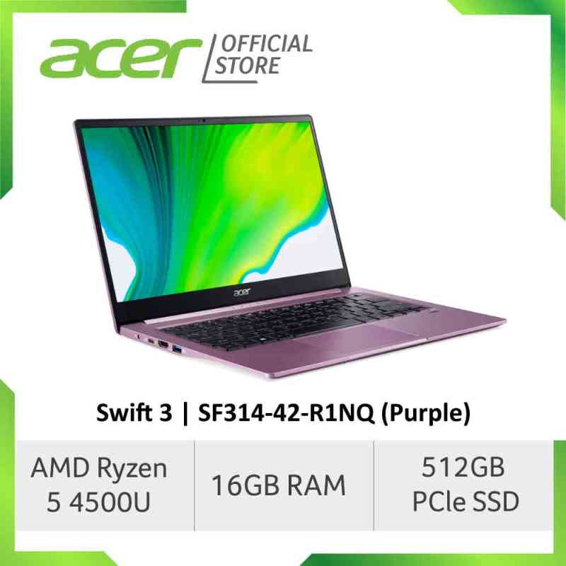 Acer Swift 3 SF314-42-R612/R1NQ (Silver/Purple) Thin and Light Laptop with AMD Ryzen 5 4500U Processor and 16GB