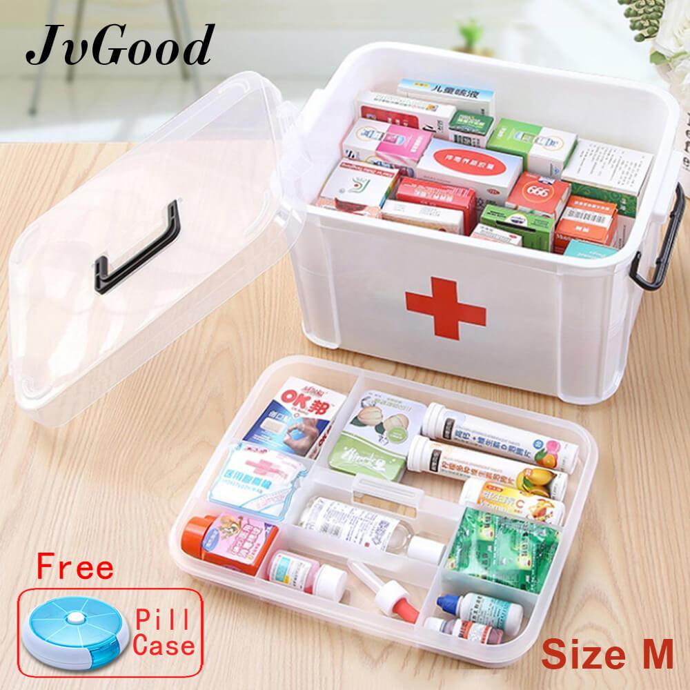 JvGood Household Medical Cabinet Box EMPTY First Aid Kit Plastic Storage Pill Cases With Separate Compartments, Size M (33.5x24x17.7 cm) - intl
