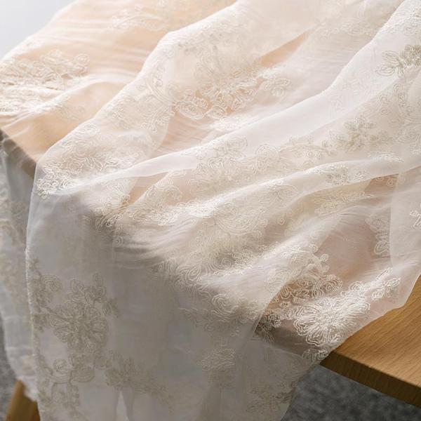 Vải Organza Thêu Chất Vải Mềm Da Bò Thủ Công DIY Mềm Mại Trang Phục Khăn Chùm Đầu Ren Thêu Hoa Voan Lưới Mềm Trang Phục Thời Hán Vải