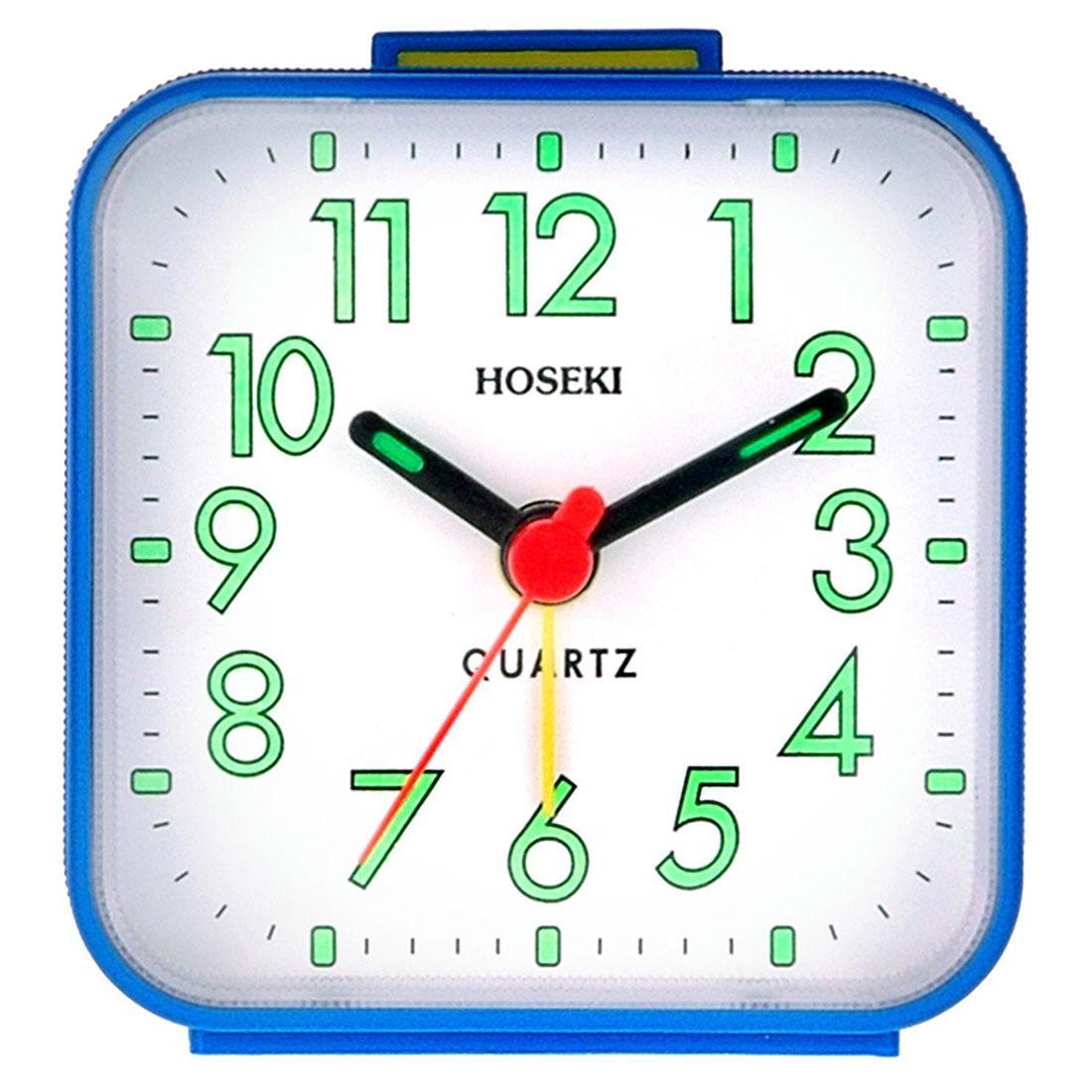 Hoseki H-8997BU/W H-8997 Blue Square Case White Dial Alarm Clock