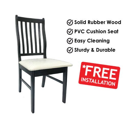 [A-STAR] Solid Wooden Dining Chair Seat with PVC Cushion Dark walnut