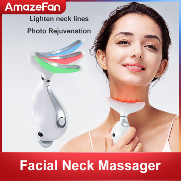 Buy AmazeFan 3 Colors Led Facial Neck Massager Face Lift Device Led Photon Therapy Heating Face Neck Wrinkle Removal Machine Reduce Double Chin Skin Lifting for Skin Firming, Wrinkle Removal and Shrink Pores Singapore
