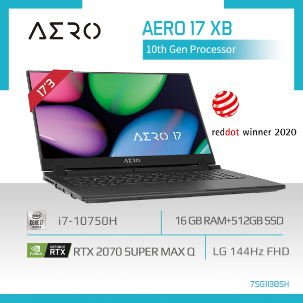 GIGABYTE AERO 17 XB (i7-10750H/16GB DDR4 2933 (8GBx2)/GeForce RTX 2070 Super GDDR6 8GB Max-Q/512GB M.2 PCIE SSD/17.3inch Thin Bezel 144Hz IPS Display/WINDOWS 10 HOME) [Ships 2-5 days]