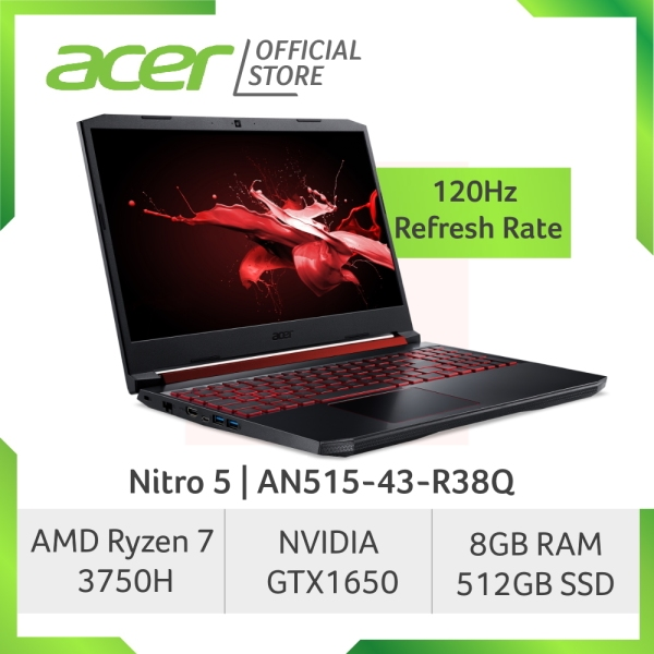 [READY STOCKS] Acer Nitro 5 AN515-43-R38Q NEW 120Hz Refresh Rate Gaming laptop with AMD Ryzen 7 processor and GTX 1650 Graphics