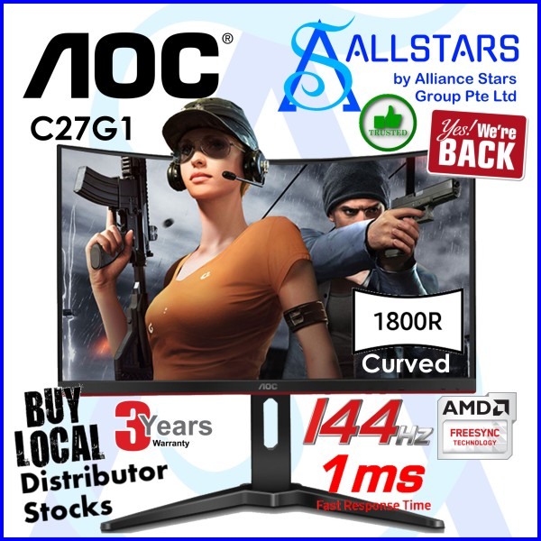 (ALLSTARS : We are Back Promo) AOC Black/Red 27 inch C27G1 Curved 144Hz VA Gaming Monitor (HDMIx2/VGA/DP/FreeSync) (Local Warranty 3years On-site with AOC)