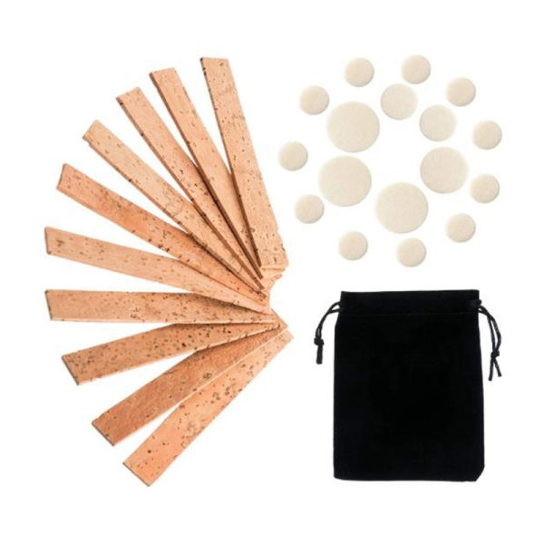 27 Pcs Clarinet Instrument Accessory Replacement Kit, Include 10 Neck Connection Cork and 17 Woodwind Instrument Pads