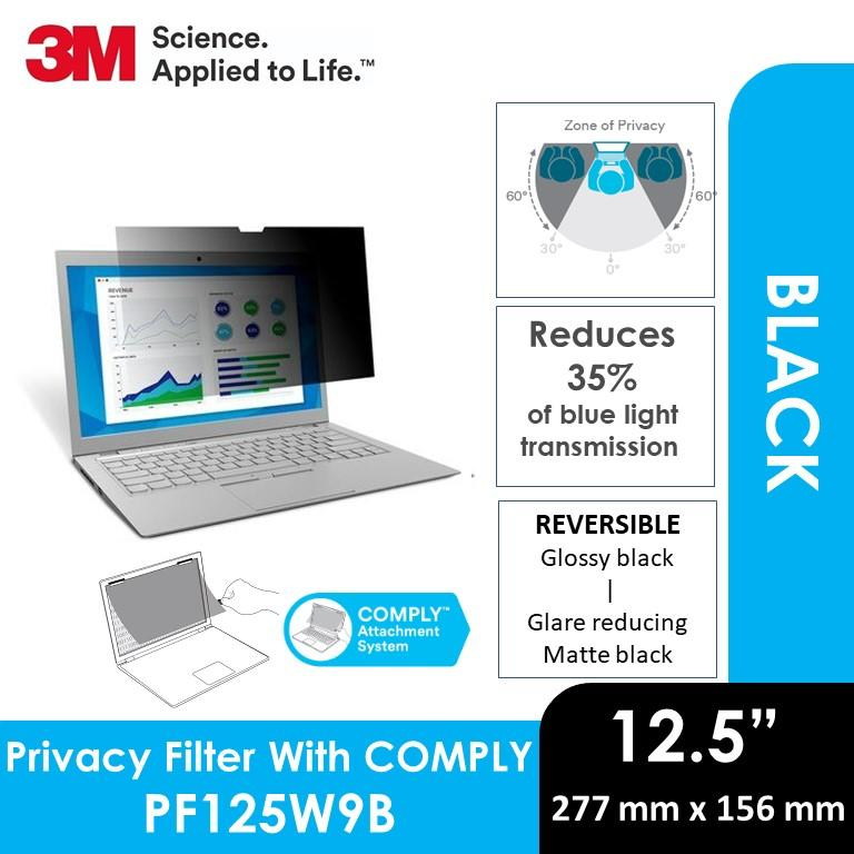 3M Privacy Filter for 12.5 in Widescreen Laptop - Standard Fit with COMPLY™ Attachment System,PF125W9B