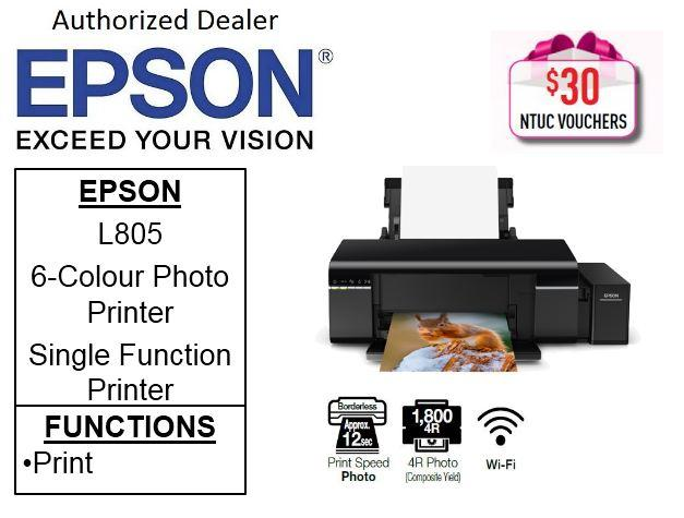 Epson L805 Ink EcoTank ** Free $30 NTUC Vouchers Till 25th May 2019 **  6-Colour Photo Printer Epson 805 L 805 Singapore