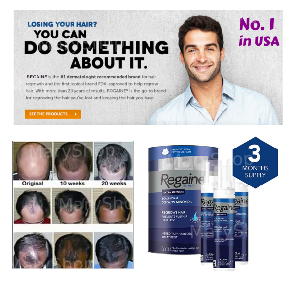 Buy Mens Regaine (Rogaine Compatible) 5% Foam for Hair Loss and Hair Regrowth, Topical Treatment for Thinning Hair, 3-Month Supply Singapore