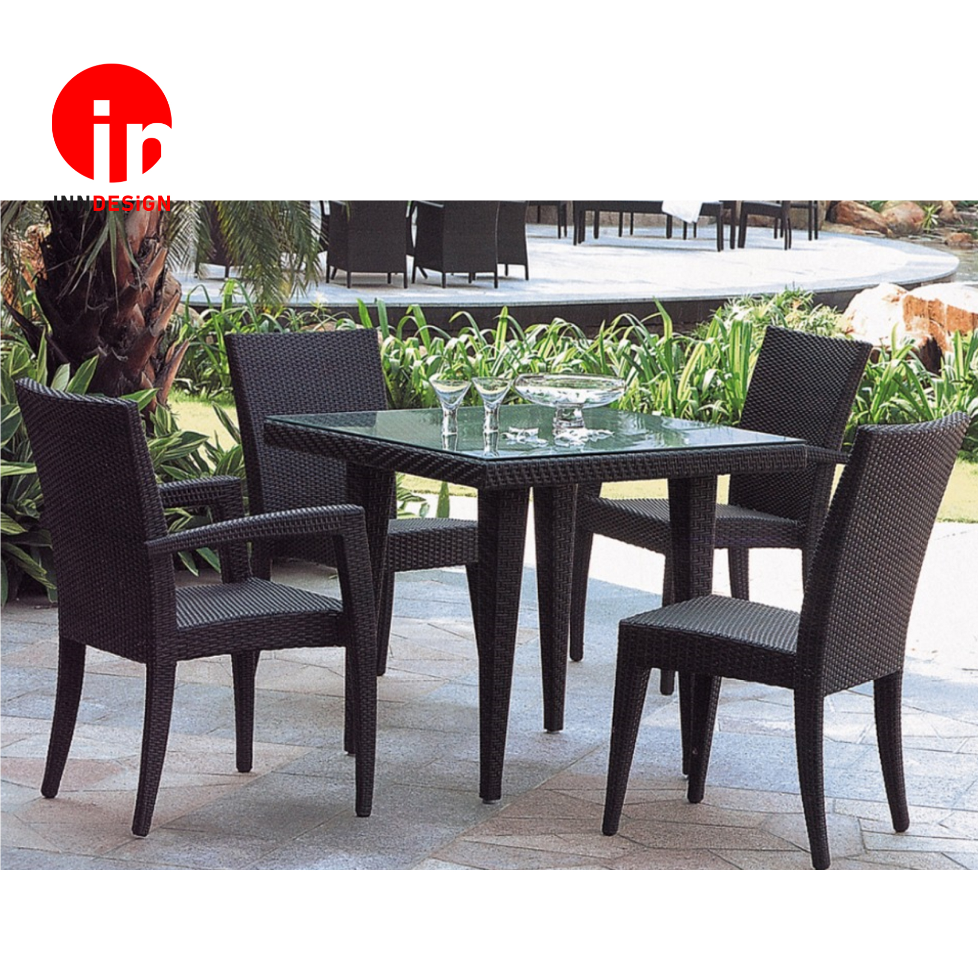 1+4 Dining Set / Outdoor Table /Coffee Table / Lounge Set ( Black) (Free Delivery and Installation)