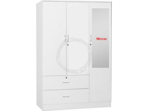 (FurnitureSG) 3 Door Wardrobe White [Free Delivery and Installation]