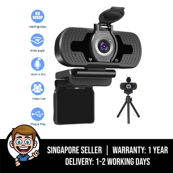 HD Pro 1080p Webcam with Privacy Cover, Built-in Microphone, Tripod - Widescreen Video Calling and Recording, 1080p Streaming Camera, Noise Cancellation, Desktop or Laptop Webcam, Plug & Play via USB - Black