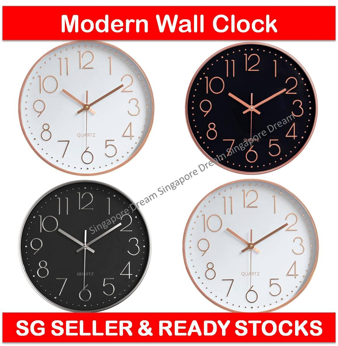 Quartz Battery Operated Wall Clock for Living Room Home Office with Plastic Frame and Glass Cover 30cm