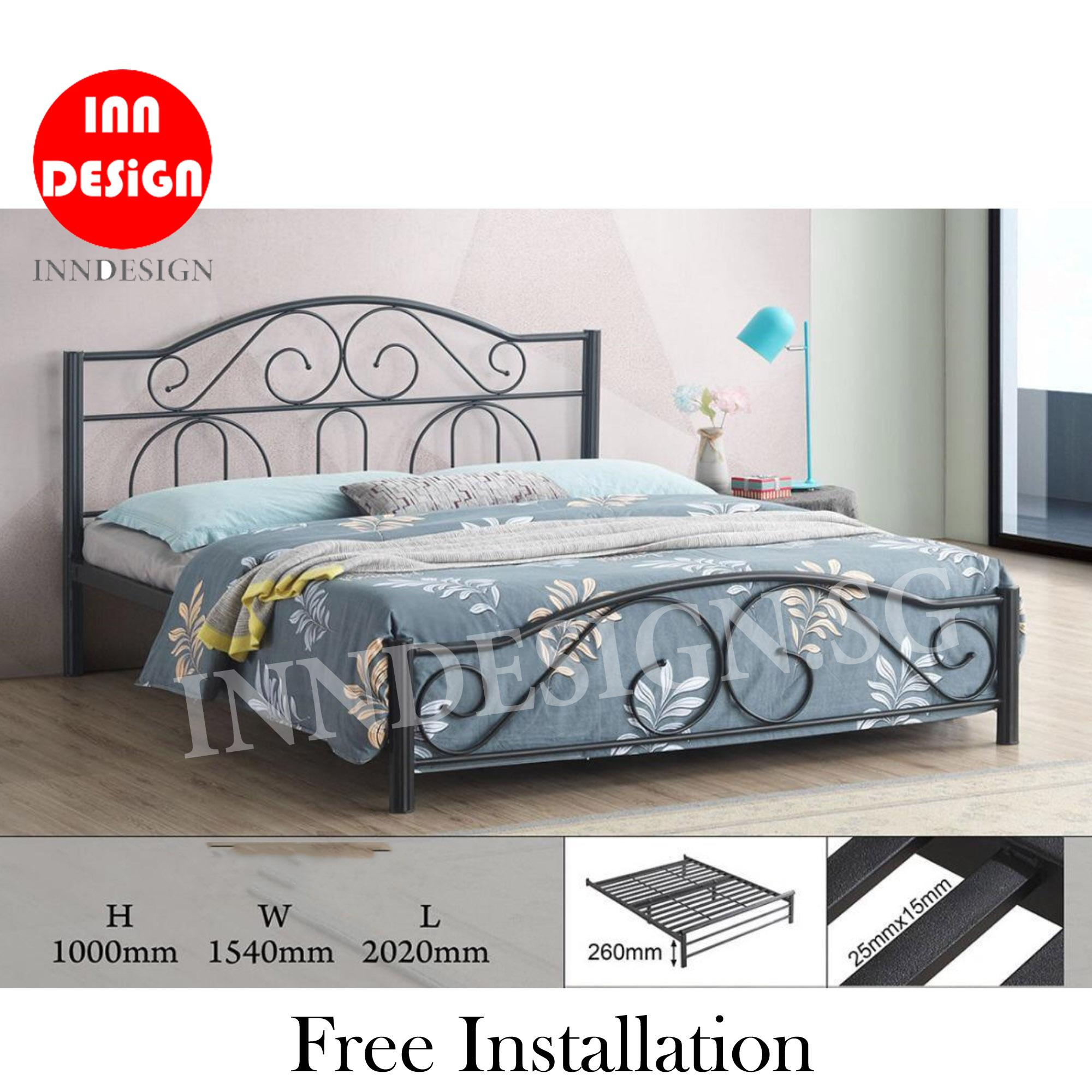 [NEW ARRIVAL] [6 Months Warranty] Quanto Queen Heavy Duty Metal Bedframe / Bed / Bed frame (Free Delivery and Installation)