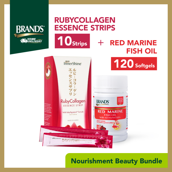 Buy BRANDS® InnerShine RubyCollagen Essence Strips 10 Strips +  Red Marine Fish Oil 120 Softgels Singapore